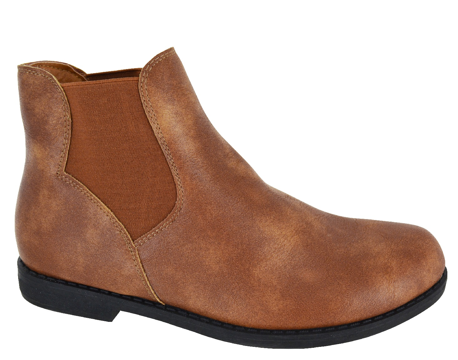 LADIES WOMENS FLAT LOW HEEL ANKLE CHELSEA DEALER PULL ON SHOES BOOTS UK SIZE 3-8