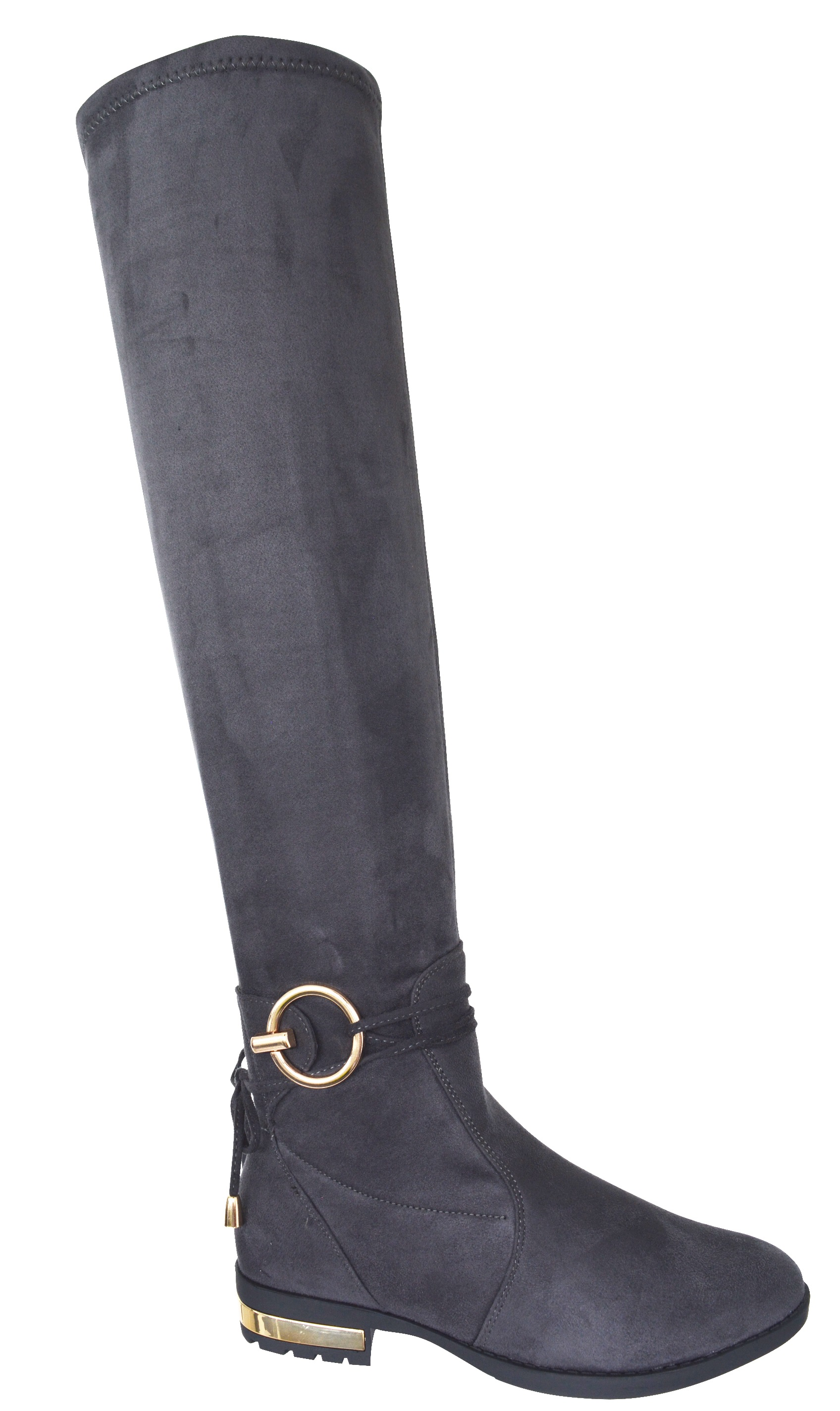 LADIES WOMENS OVER THE KNEE HIGH LOW GOLD HEEL BOOTS ...
