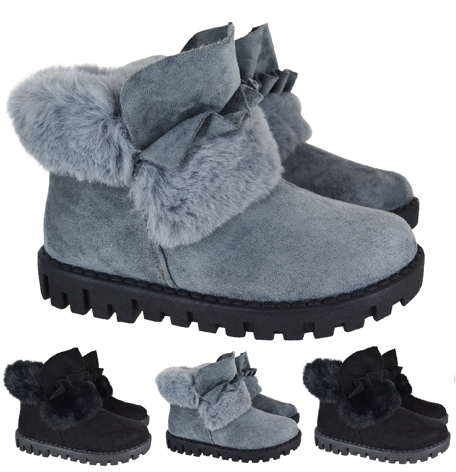 LADIES WOMENS WARM WINTER GRIP SOLE SNOW ANKLE FUR LINED FLAT SHOES BOOTS SIZE