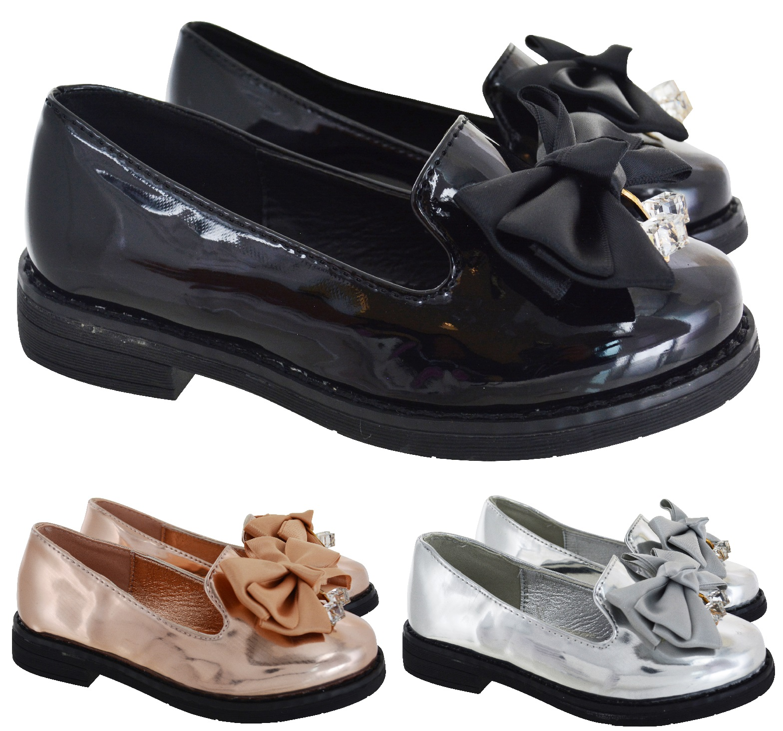 GIRLS SCHOOL SMART FLAT LOAFERS PATENT DOLLY PUMPS KIDS CHILDRENS COMFY SHOES SZ