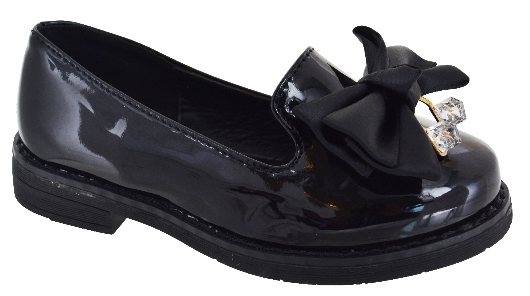KIDS-GIRLS-CHILDREN-FLAT-BOW-LOAFERS-CREEPER-CHUNKY-DOLLY-SOLE-SCHOOL-SHOES-SIZE