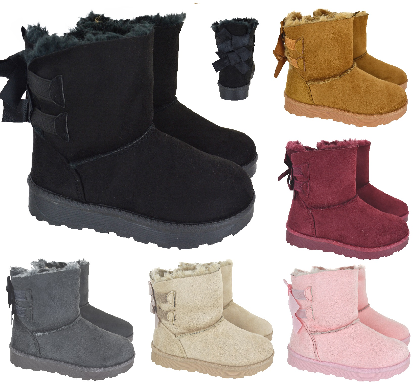 GIRLS KIDS CHILDREN WARM WINTER ANKLE GRIP SOLE FUR LINED SHOES TRAINER BOOTS SZ