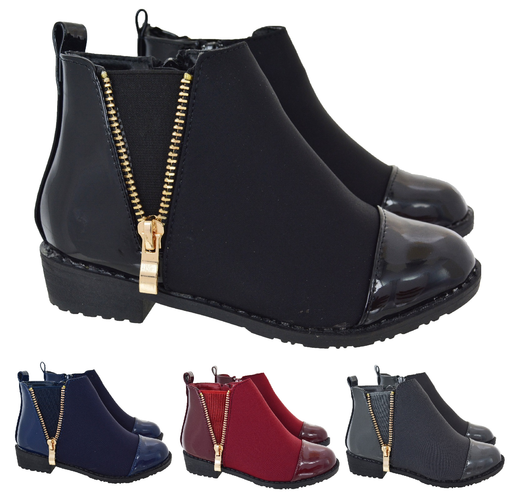 Details about KIDS GIRLS CHILDREN LOW FLAT HEEL ANKLE SHOES ZIP WINTER  PATENT CHELSEA BOOTS SZ
