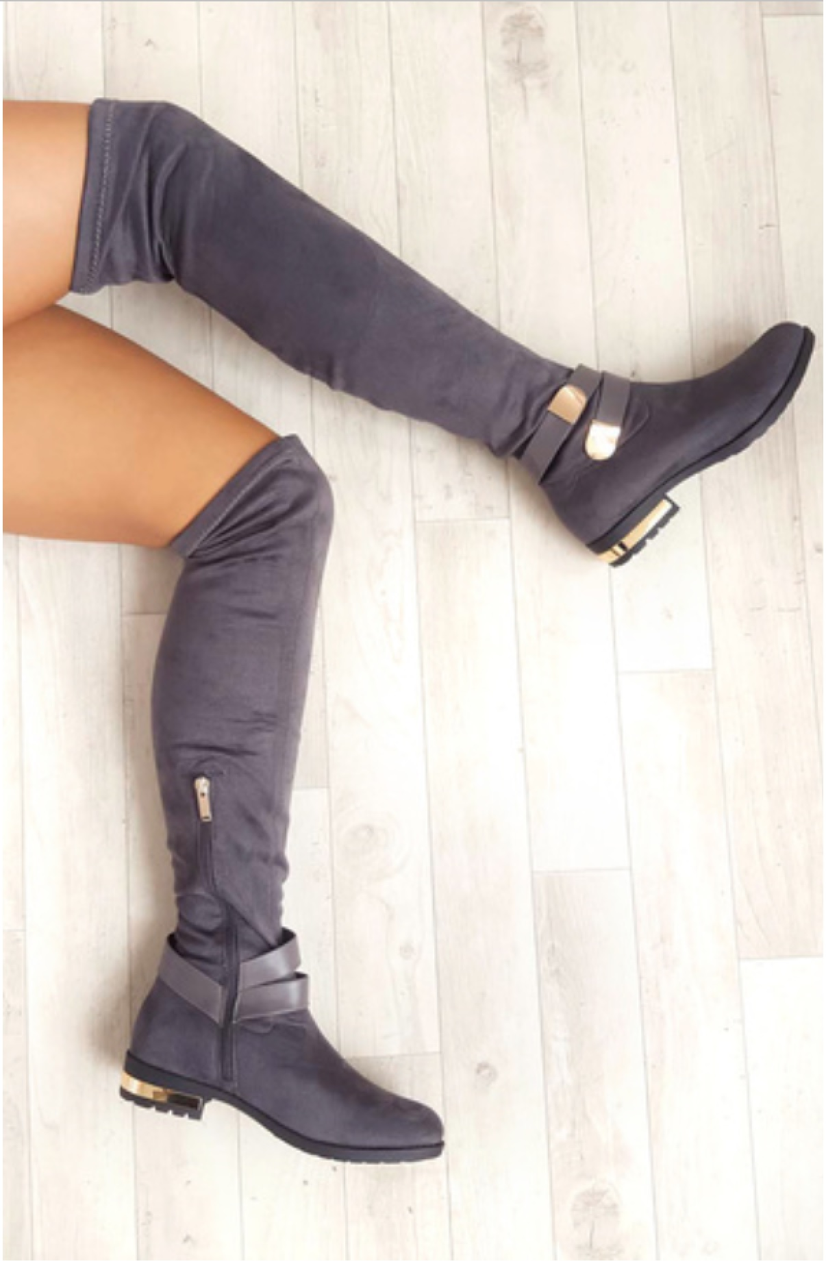 ladies womens flat over the knee boot buckle gold trim heel zip boots size 3 8 ebay. Black Bedroom Furniture Sets. Home Design Ideas