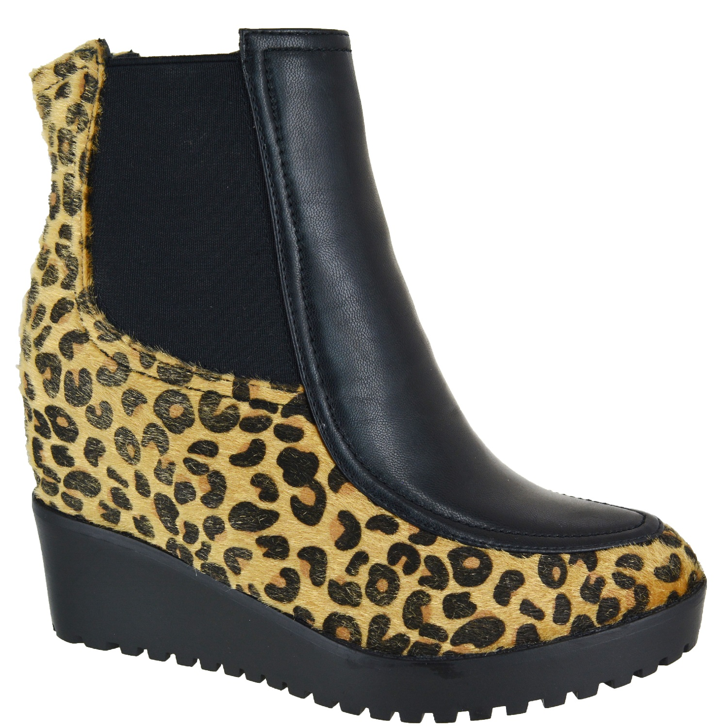 LADIES-WOMENS-BLACK-WARM-FUR-CALF-ANKLE-WEDGE-ZIP-UP-MID-HIGH-BOOTS-SIZES-3-8