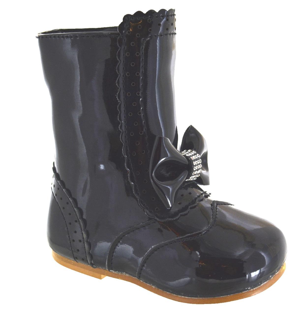 Enfants-Filles-Bebe-Nourrissons-N-ud-Strass-Cheville-Fermeture-Eclair-Chaussures-Soiree-Mariage