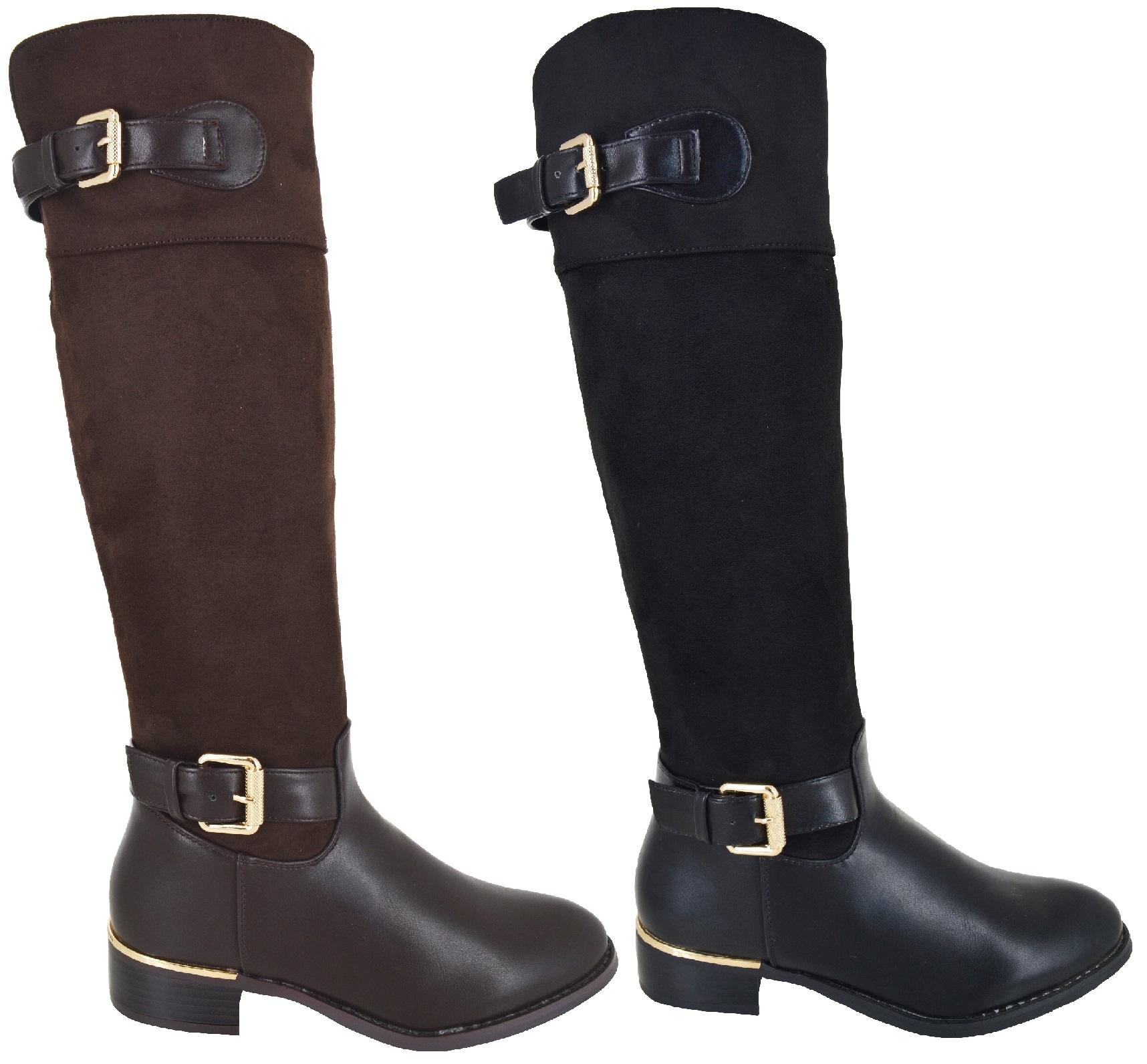 Détails sur Femmes Équitation Boucle Hauteur Genou Plat Mode mi Mollet Zip Chaussures Taille