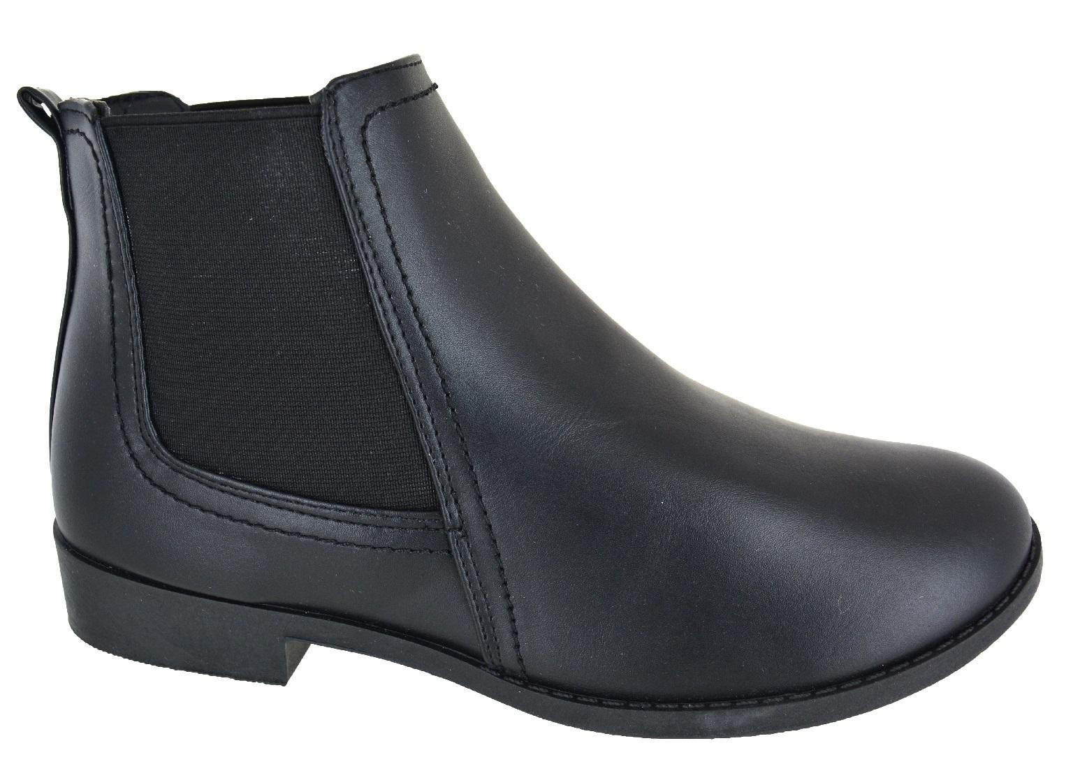 ladies womens ankle zip flat low block heel chelsea buckle. Black Bedroom Furniture Sets. Home Design Ideas