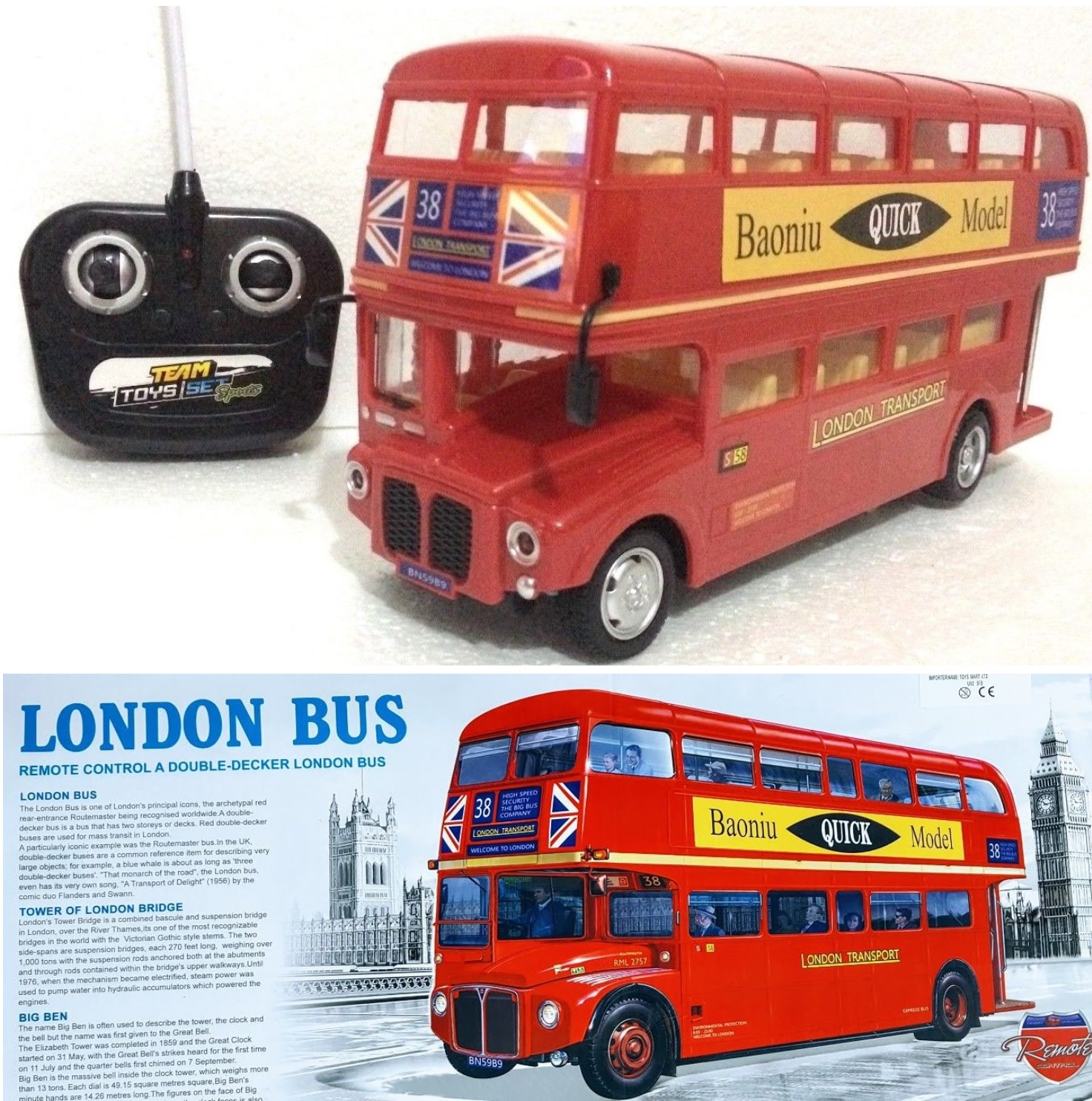 london transport double decker red bus led light kids toy remote