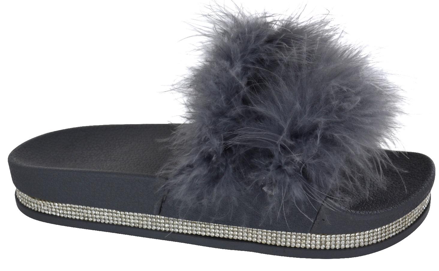Ladies Womens Diamante Fur Fluffy Sliders Slippers Comfy