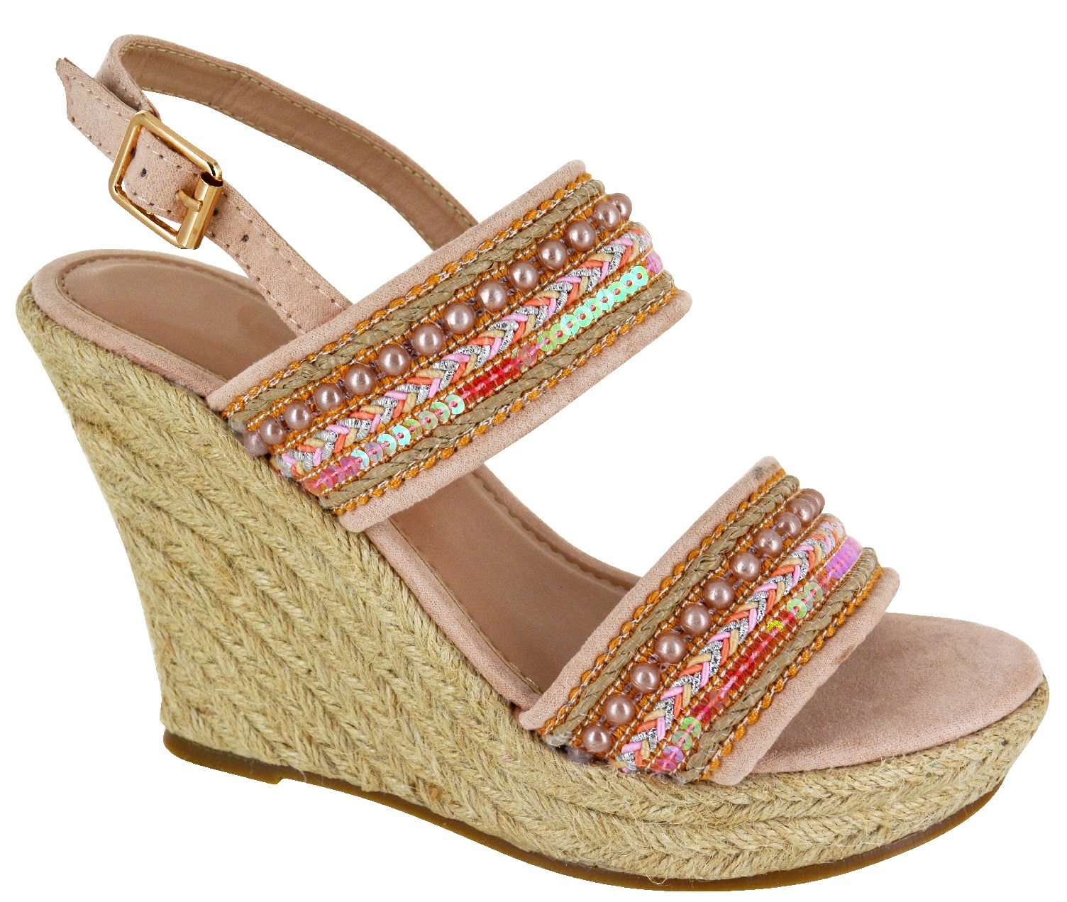 LADIES SUMMER BEACH COMFY HIGH MID HEEL WEDGE ESPADRILLES WOMENS SANDALS SHOES