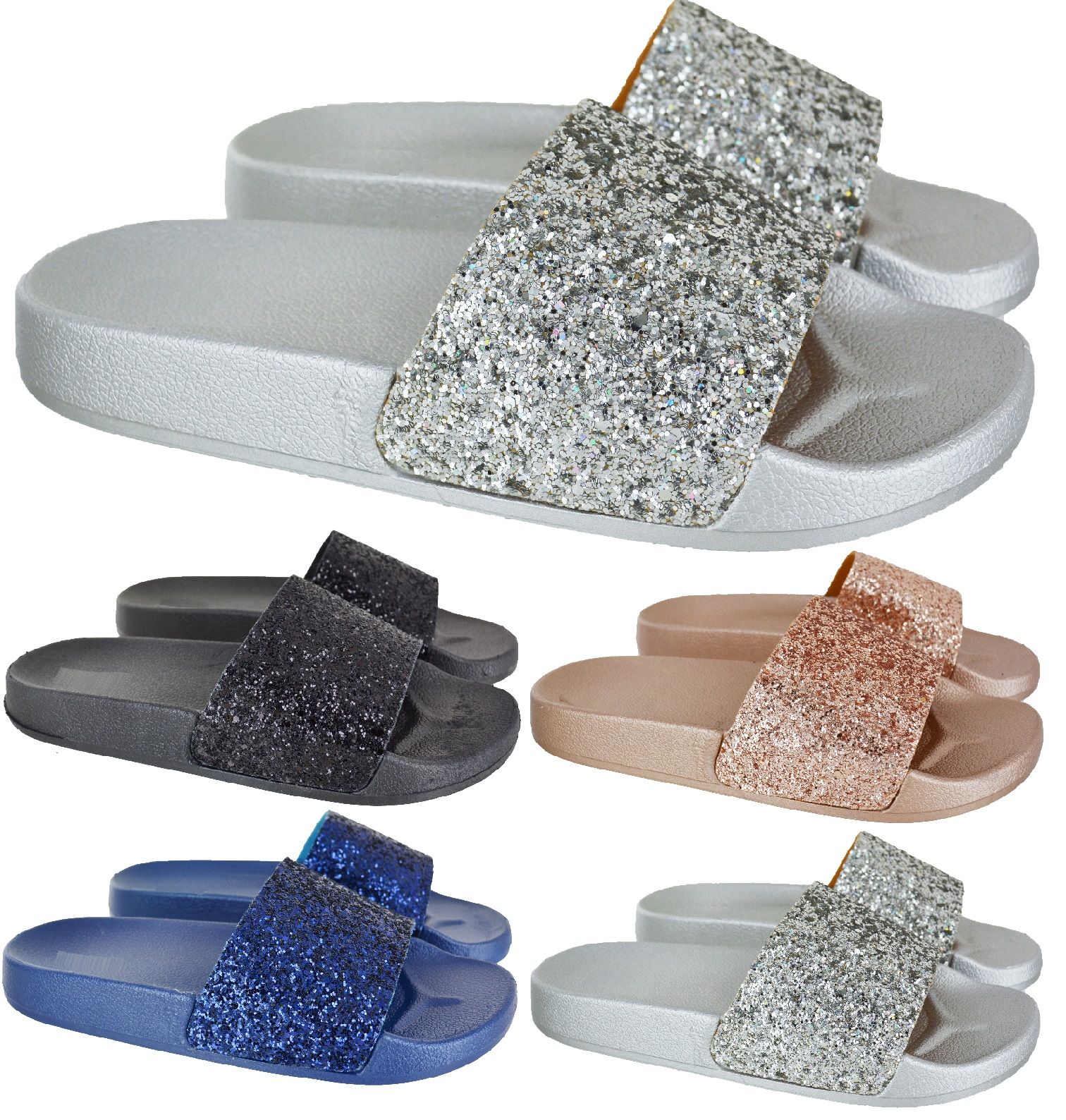 5c97c8fbe9d7 Sentinel LADIES WOMENS COMFY SLIP ON MULE SUMMER GLITTER SLIDERS FLAT  SLIPPERS SHOES SIZE