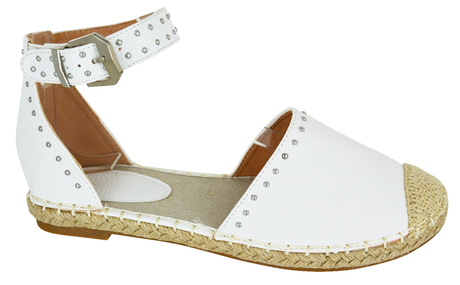 LADIES-WOMENS-FLAT-HEEL-STUD-ANKLE-STRAP-SUMMER-ESPADRILLES-SANDALS-SHOES-SZ-3-8