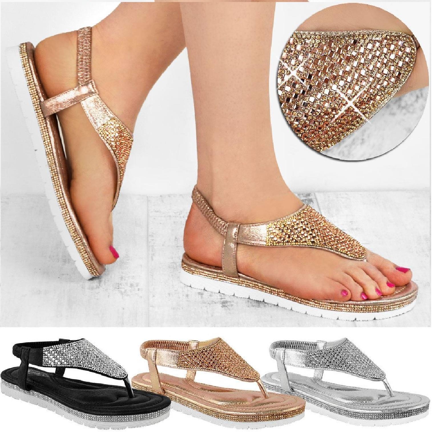 Womens Flat Low Wedge Sandals Platform Heel Diamante Holiday Ladies Summer Shoes