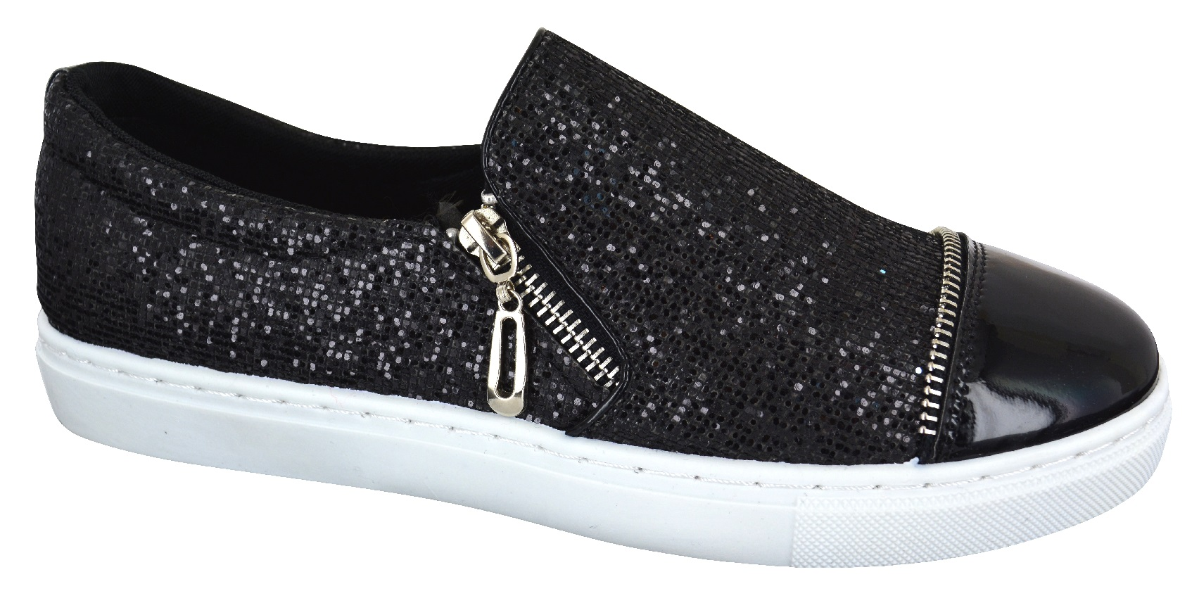 LADIES WOMENS FLAT SPARKLY SLIP ON GLITTER CASUAL PLIMSOLES TRAINERS SHOES SIZE