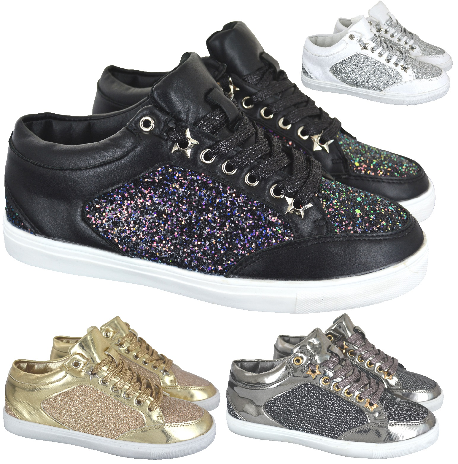 53962f7cdc61 Sentinel LADIES WOMENS SPARKLY GLITTER LACE UP GYM RUNNING SPORT TRAINERS  SHOES SIZE 3-8