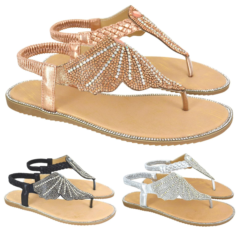 WOMENS ROSE GOLD DIAMANTE TOE POST FLAT FLIP FLOP SUMMER SANDALS LADIES SIZE 3-8
