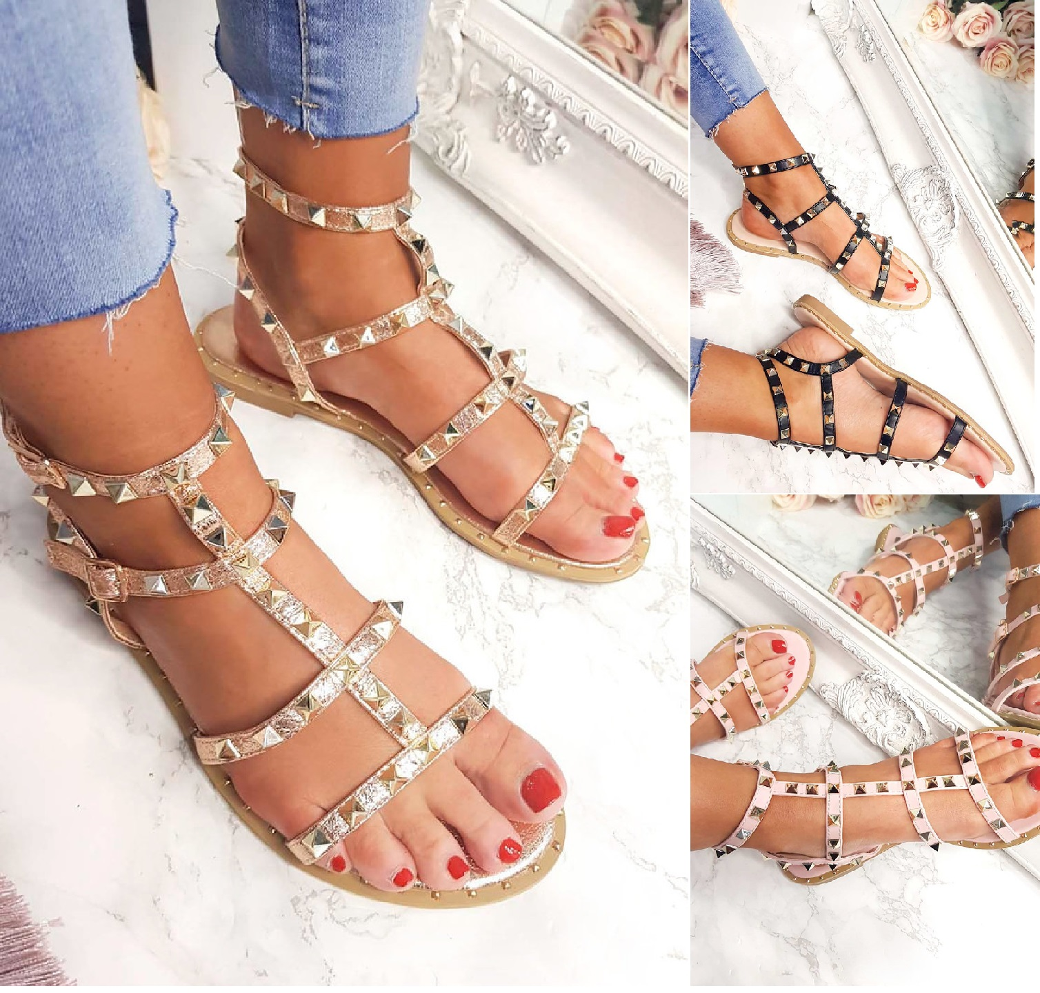292af0d0a09ff Sentinel LADIES WOMENS STUDDED FLAT ANKLE BUCKLE STRAPPY SUMMER SANDALS  SHOES UK SIZE 3-8