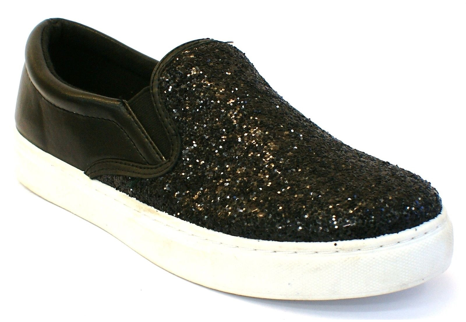 LADIES-WOMENS-FLAT-SLIP-ON-GLITTER-SPARKLY-PLIMSOLES-PUMPS-SKATER-TRAINERS-SHOES