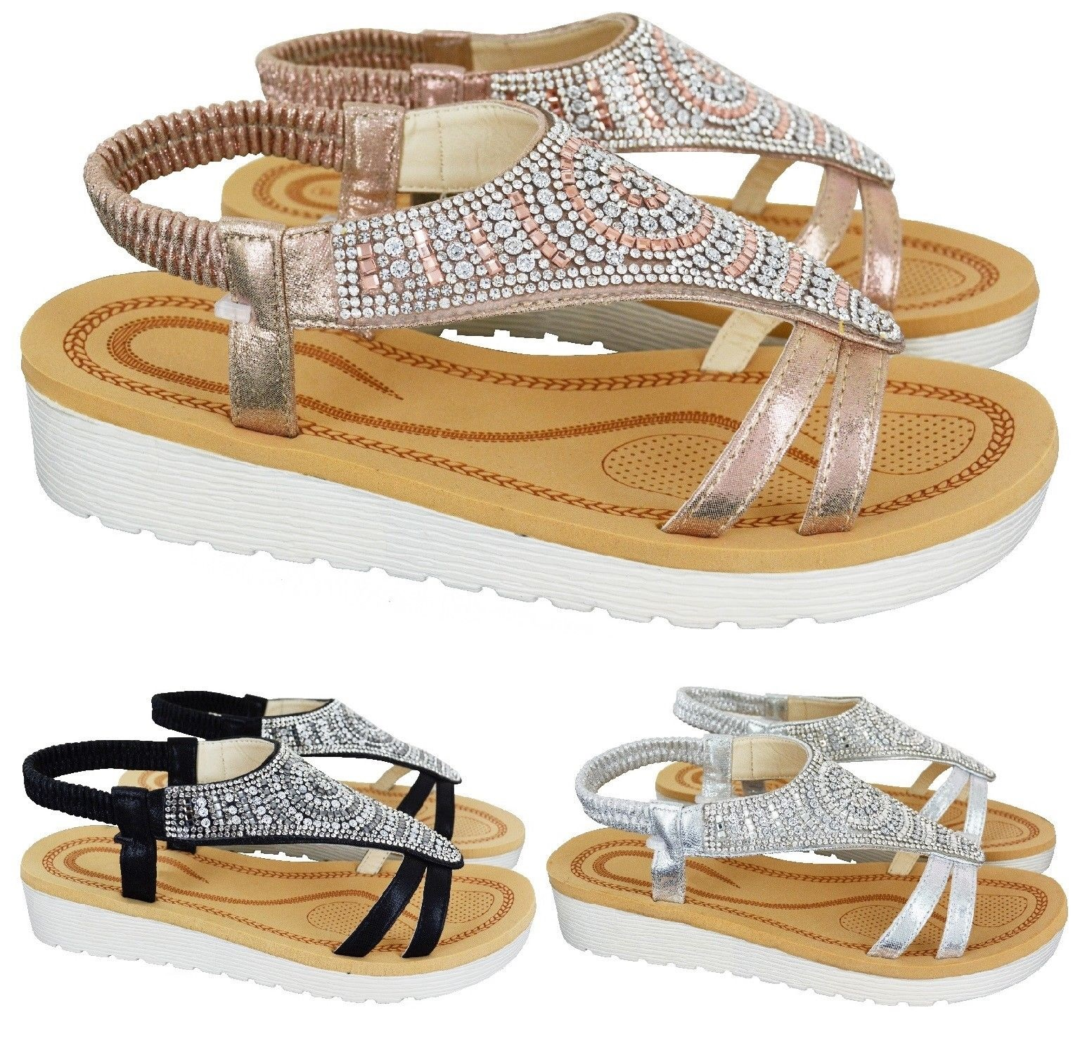 763677e9d8 Sentinel LADIES WOMENS SUMMER COMFORT DIAMANTE FLAT LOW HEEL WEDGE SANDALS  SHOES SIZE