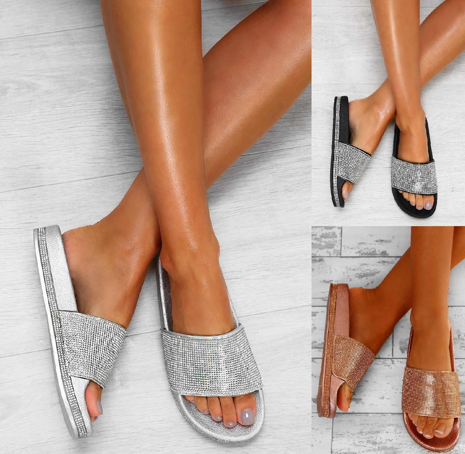 New Women Lady Diamante Slider Summer Flat Mid Heel Comfy Flip Flops Sandals