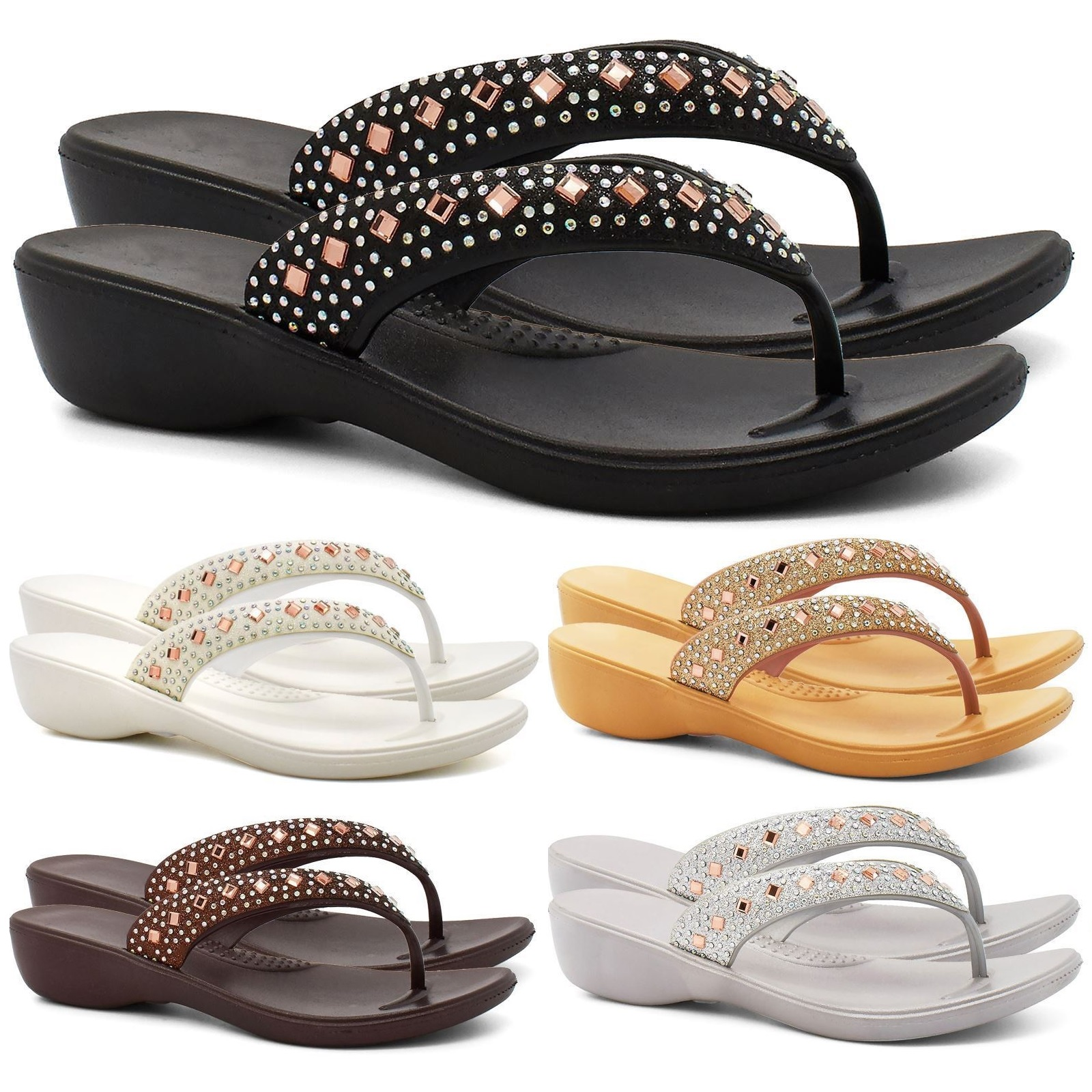 01f43bba55db Sentinel LADIES WOMENS LOW HEEL WEDGE SUMMER DIAMANTE FLIP FLOP TOE POST SANDALS  SHOES SZ