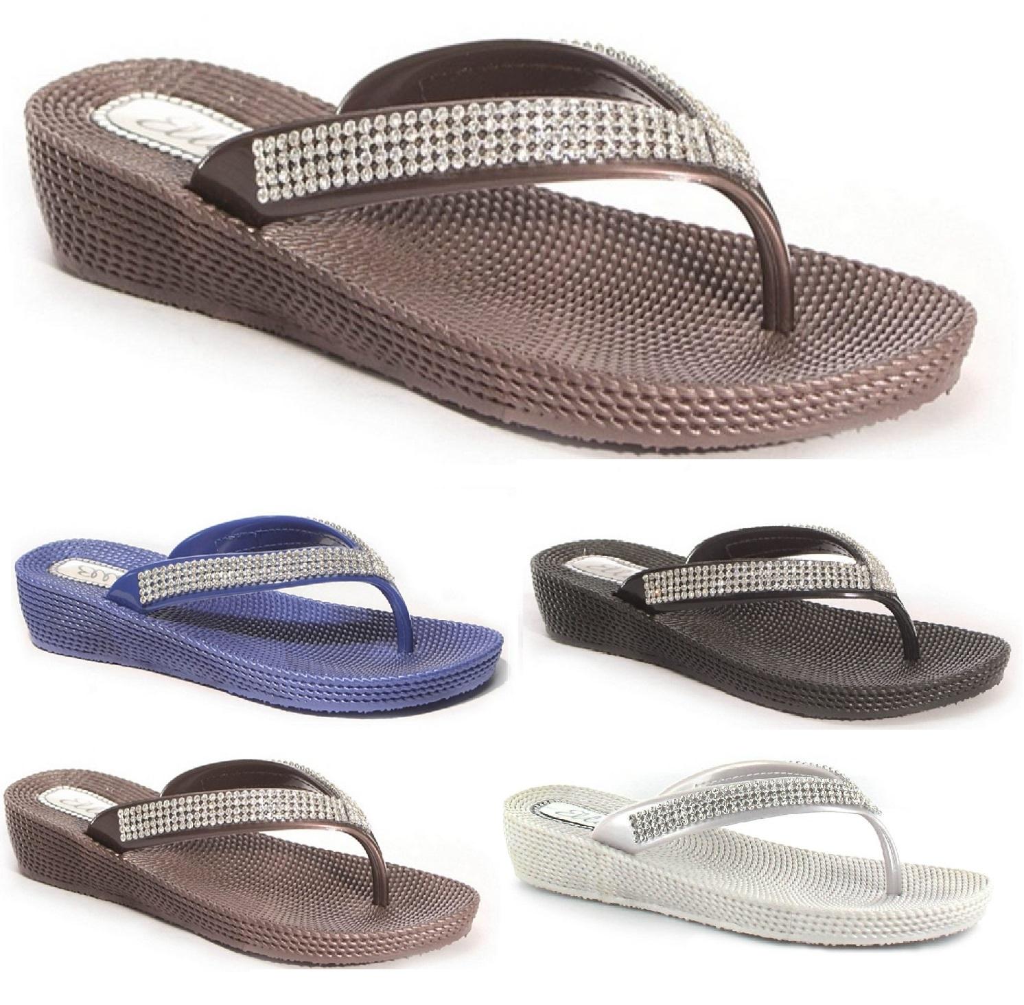 Ladies Flat Low Wedge Diamante Flip Flops Womens Summer Beach Toe Post Sandals