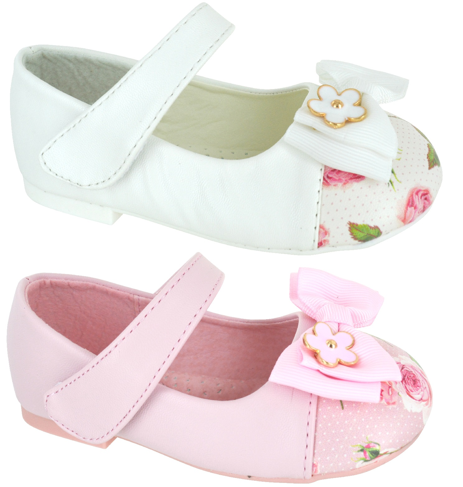 8770a7fb7 Sentinel KIDS GIRLS INFANTS CHILDREN FLAT DOLLY PUMPS FLORAL FLOWER BOW  STRAP SHOES SIZE