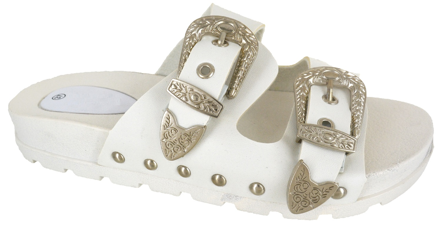 LADIES-WOMENS-STUDDED-BUCKLE-SLIP-ON-MULE-SUMMER-SLIDERS-SANDALS-SHOES-SIZE-3-8 thumbnail 7