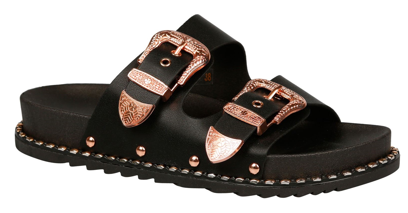 LADIES-WOMENS-FLAT-SLIDERS-STUDDED-SLIP-ON-MULE-SUMMER-HOILDAY-SANDALS-SHOES-SZ thumbnail 14