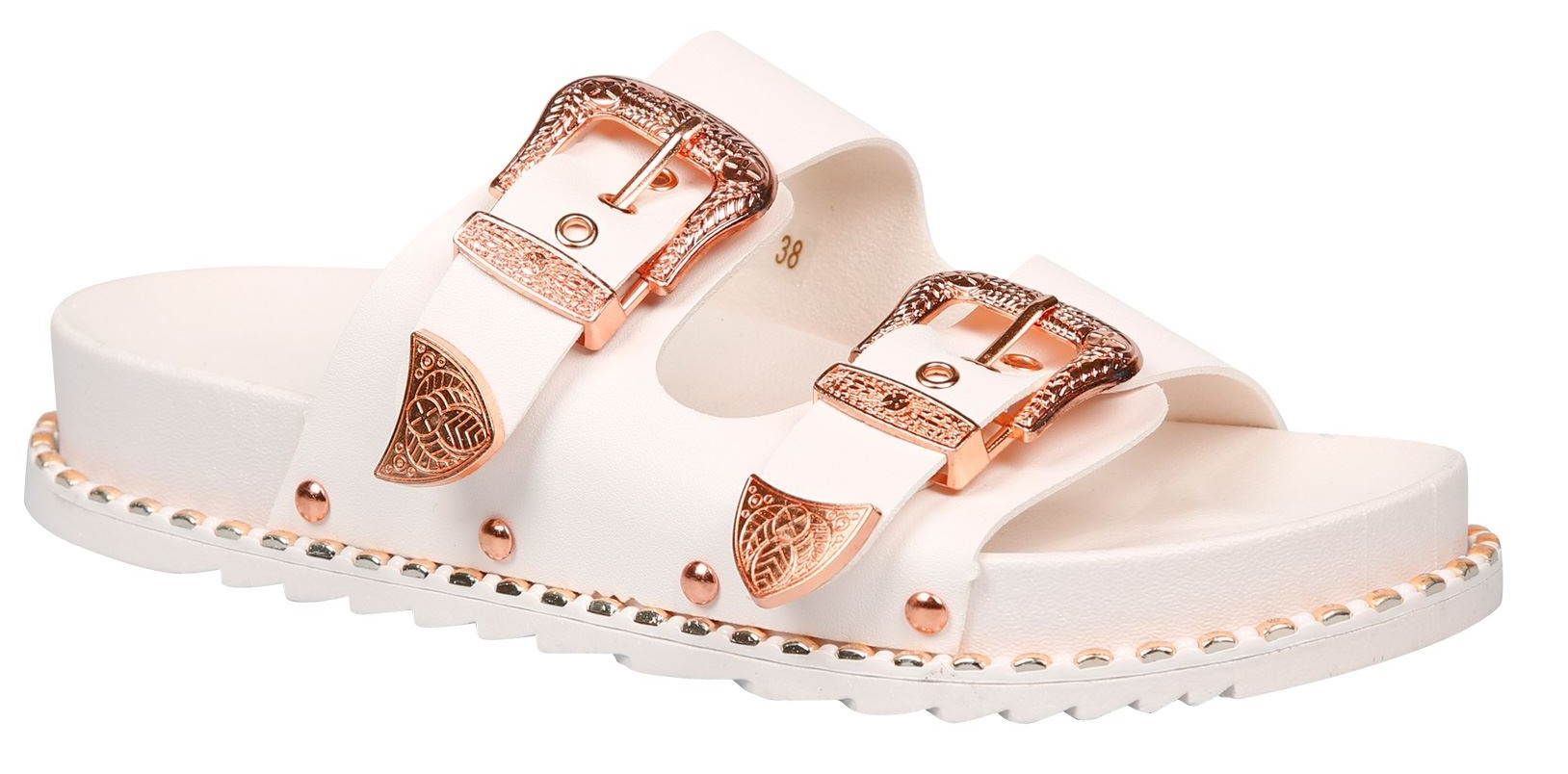 LADIES-WOMENS-FLAT-SLIDERS-STUDDED-SLIP-ON-MULE-SUMMER-HOILDAY-SANDALS-SHOES-SZ thumbnail 17