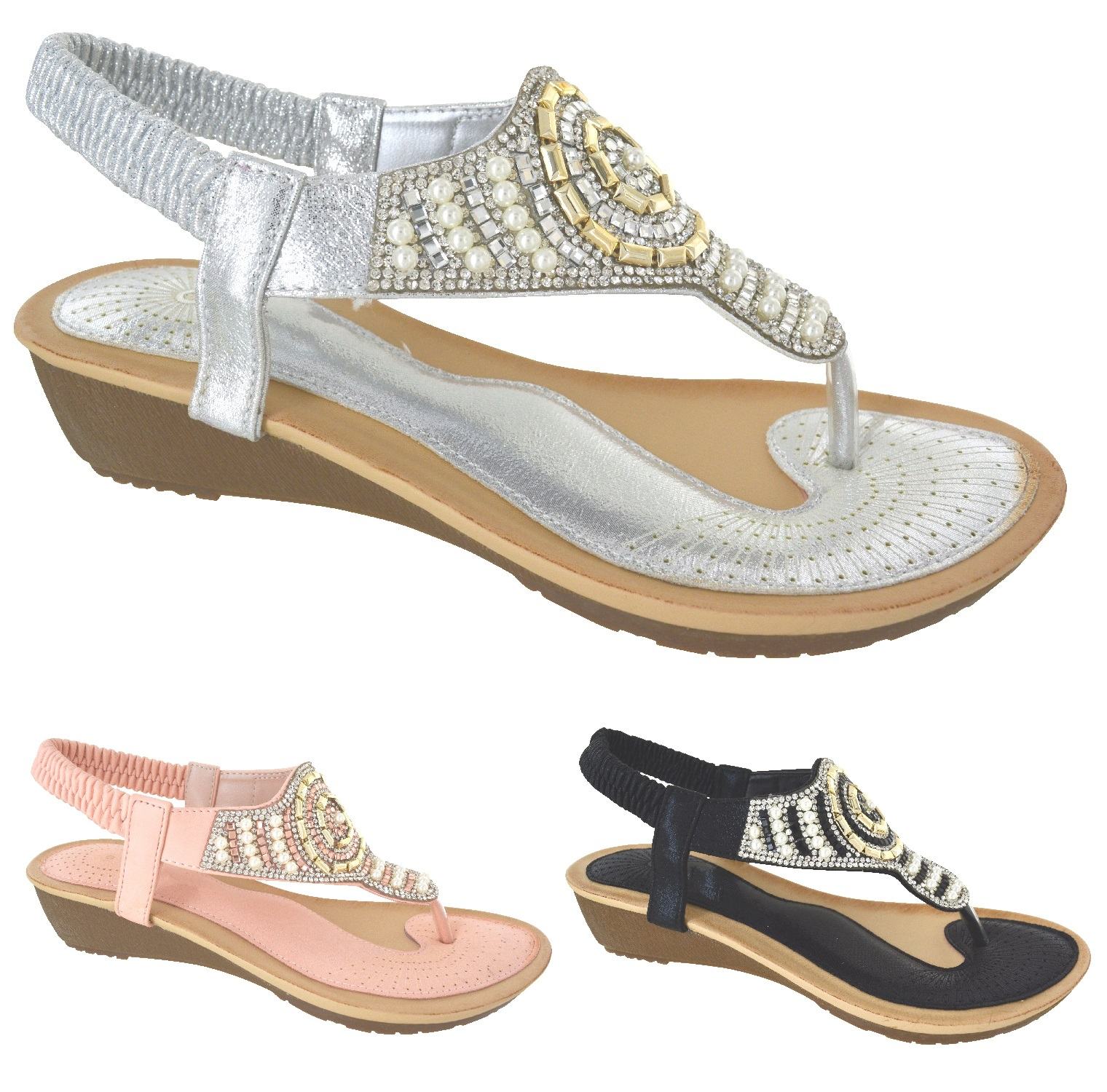 183e0091e618 LADIES WEDDING DIAMANTE FANCY SUMMER LOW WEDGE HEEL SANDALS WOMENS SHOES  SIZE