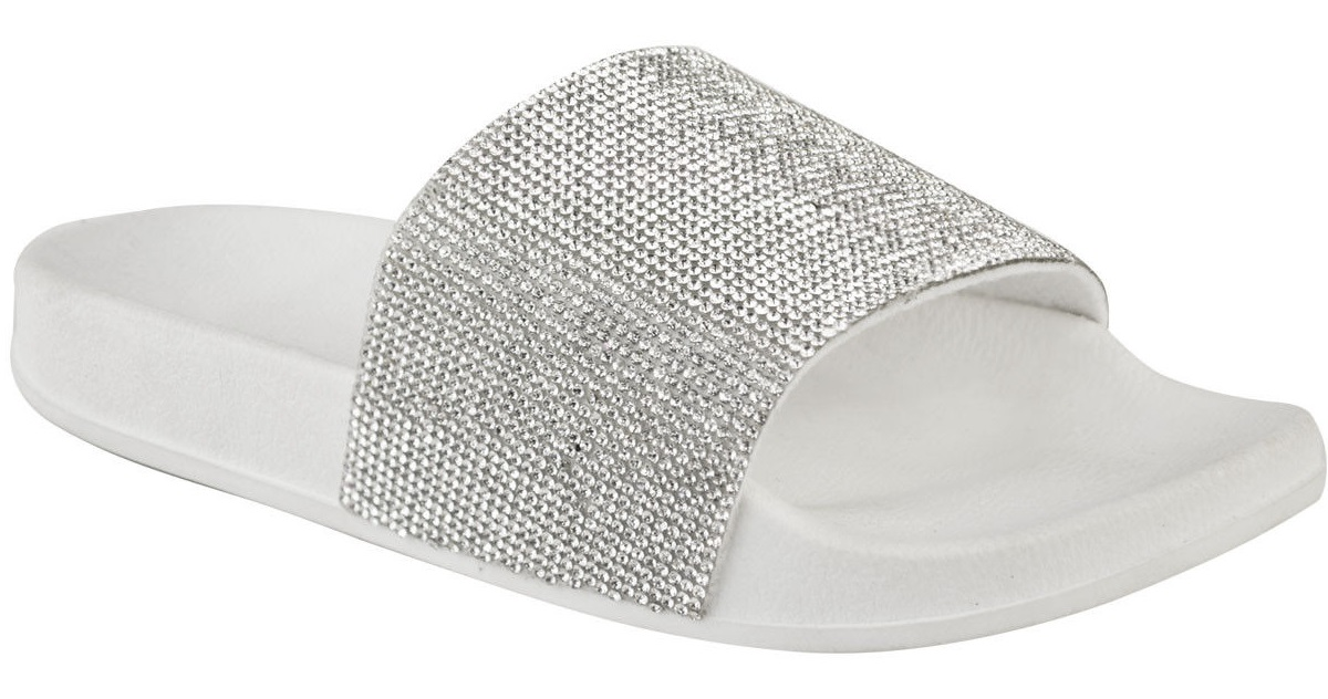 95d19d458d15 NEW WOMENS LADIES SPARKLY BLING DIAMANTE SLIDERS SLIP ON SUMMER ...