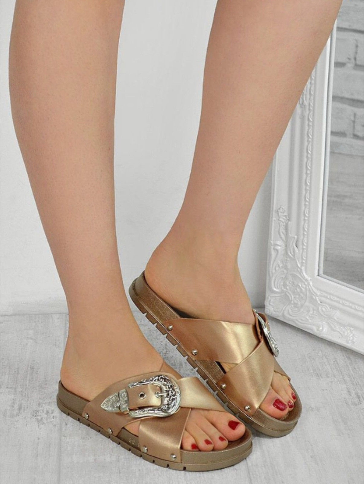 LADIES-WOMENS-STUDDED-BUCKLE-SLIP-ON-MULE-SUMMER-SLIDERS-SANDALS-SHOES-SIZE-3-8 thumbnail 4