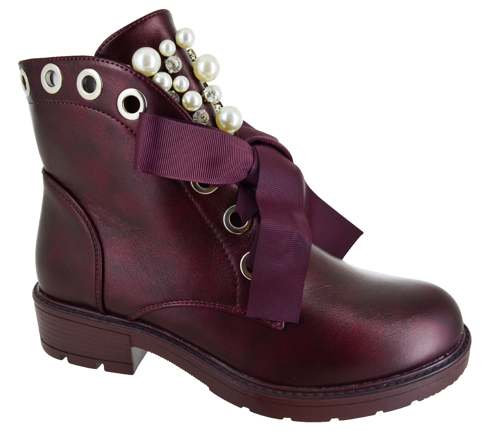 LADIES-WOMENS-ANKLE-LACE-UP-STUDDED-PEALS-PUNK-MILITARY-LOW-HEEL-ZIP-SHOES-BOOTS