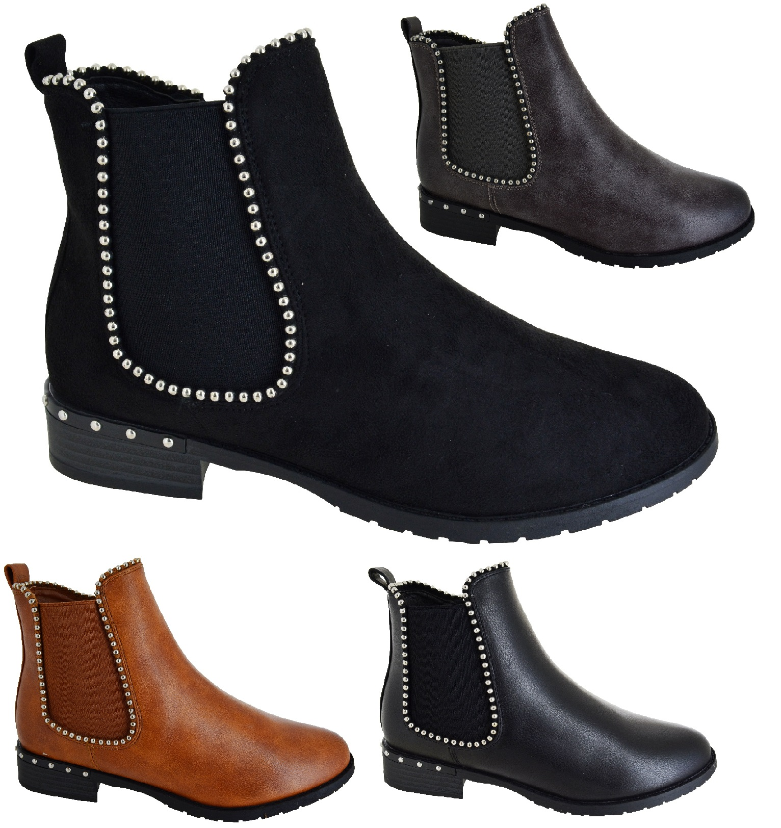 WOMENS STUDDED NIGHT OUT WORK CASUAL COMFY CHELSEA DEALER BOOTS ANKLE SHOES SZ