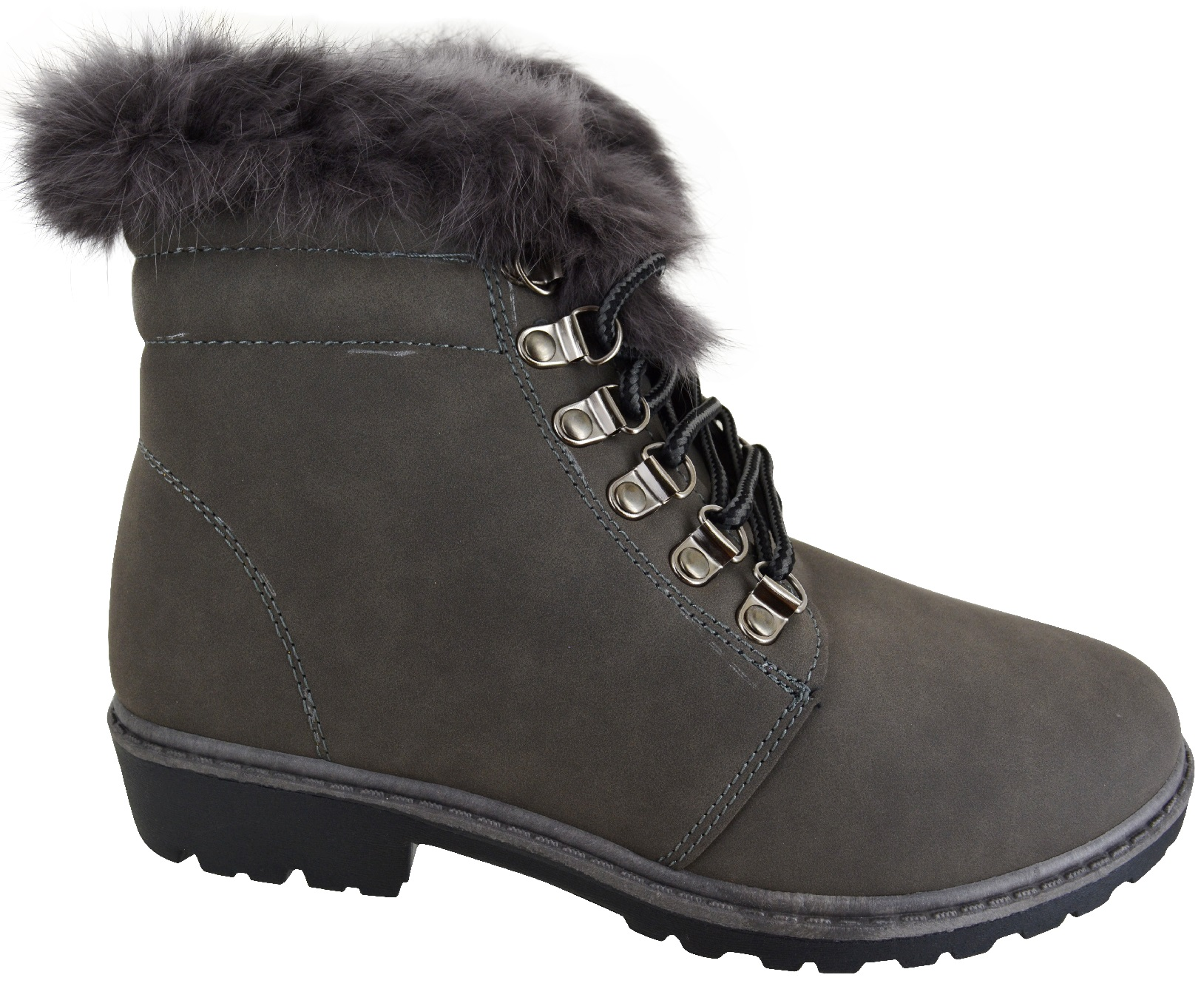 LADIES WOMENS FLAT WARM WINTER LACE UP COMBAT ARMY GREY SOLE FAUX FUR BOOTS SZ