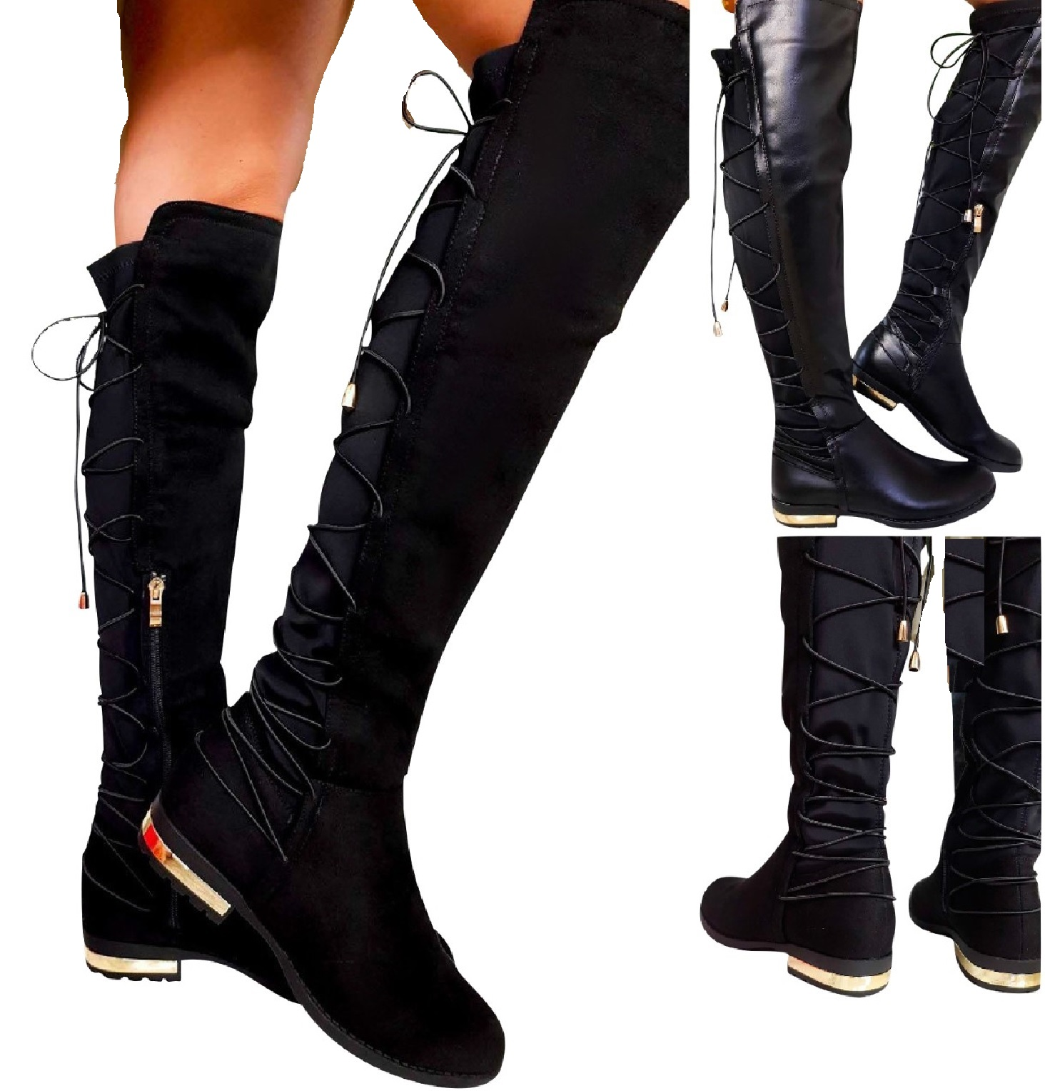 outlet sale large assortment outlet store Details about LADIES WOMENS FLAT STRETCHY ELASTIC OVER THE KNEE HIGH LACE  UP ZIP BOOTS UK SIZE
