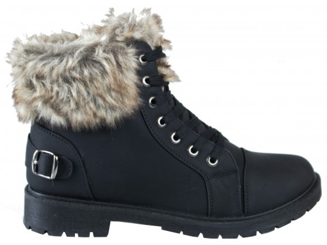 LADIES-WOMENS-WINTER-ANKLE-SHOES-GRIP-SOLE-COMBAT-ARMY-HIKING-FAUX-FUR-BOOTS-SZ thumbnail 2