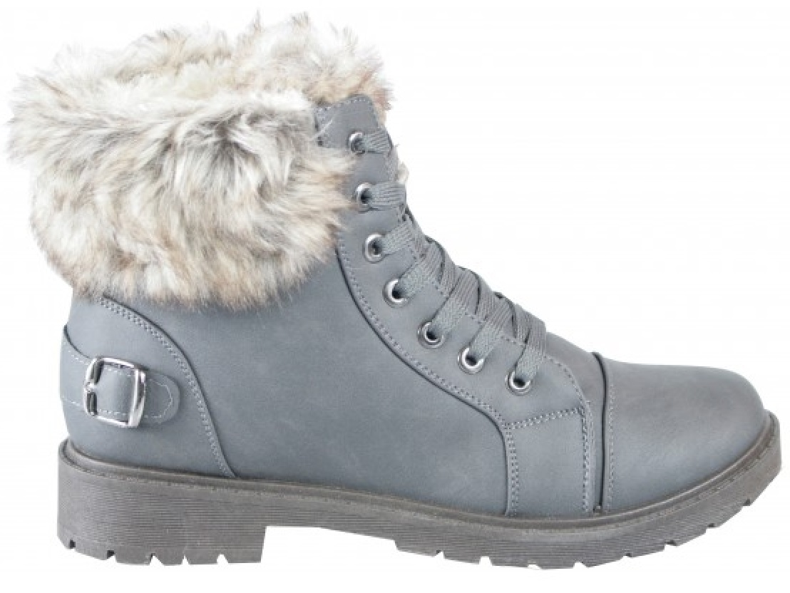 LADIES-WOMENS-WINTER-ANKLE-SHOES-GRIP-SOLE-COMBAT-ARMY-HIKING-FAUX-FUR-BOOTS-SZ thumbnail 3