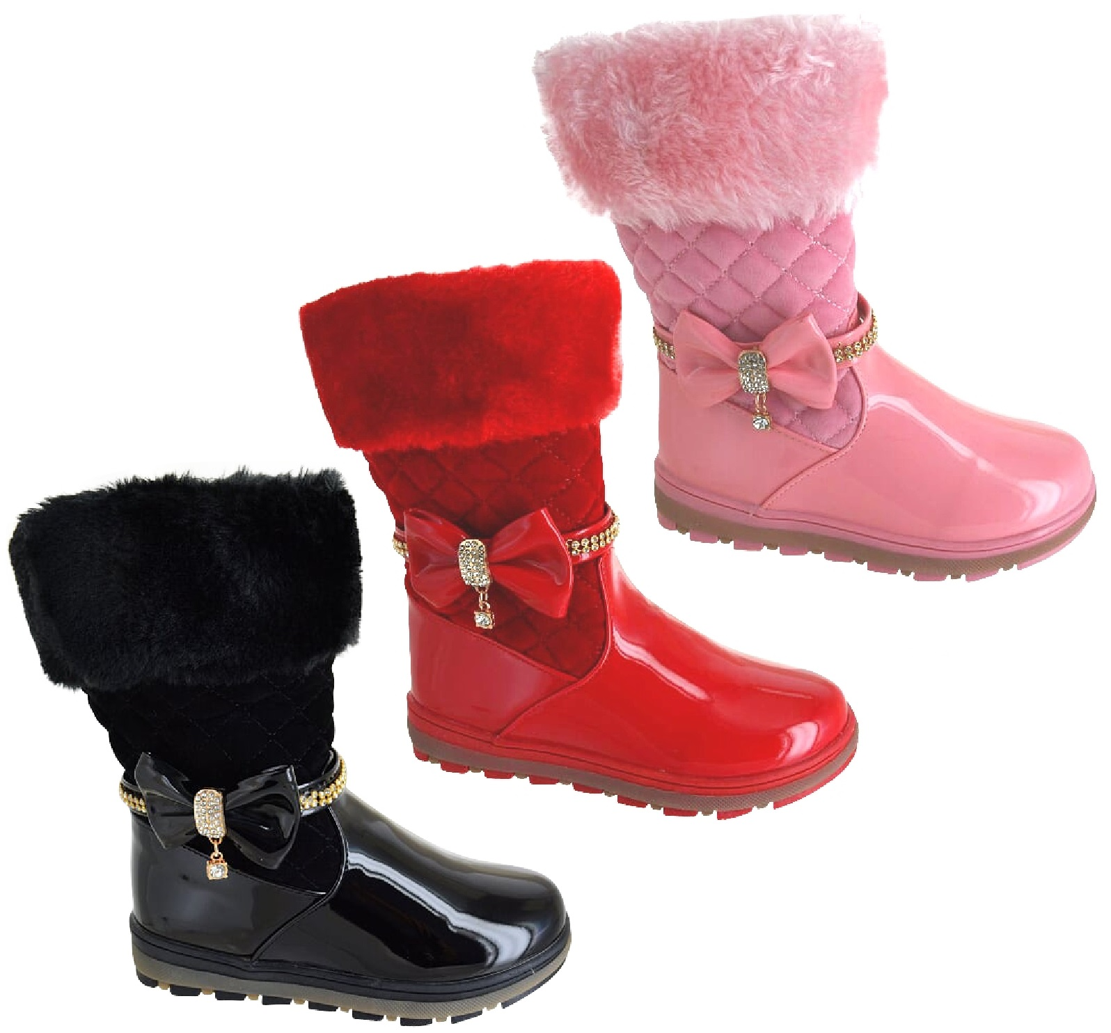 KIDS GIRLS WINTER FAUX FUR LINED GRIP SOLE  ZIP BOW MID CALF SNOW SHOES BOOTS SZ
