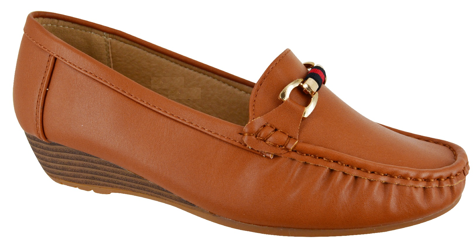 LADIES-WOMENS-LOW-HEEL-WEDGE-COMFORT-DESIGNER-WORK-LOAFERS-SHOES-SIZE-3-8-NEW thumbnail 4