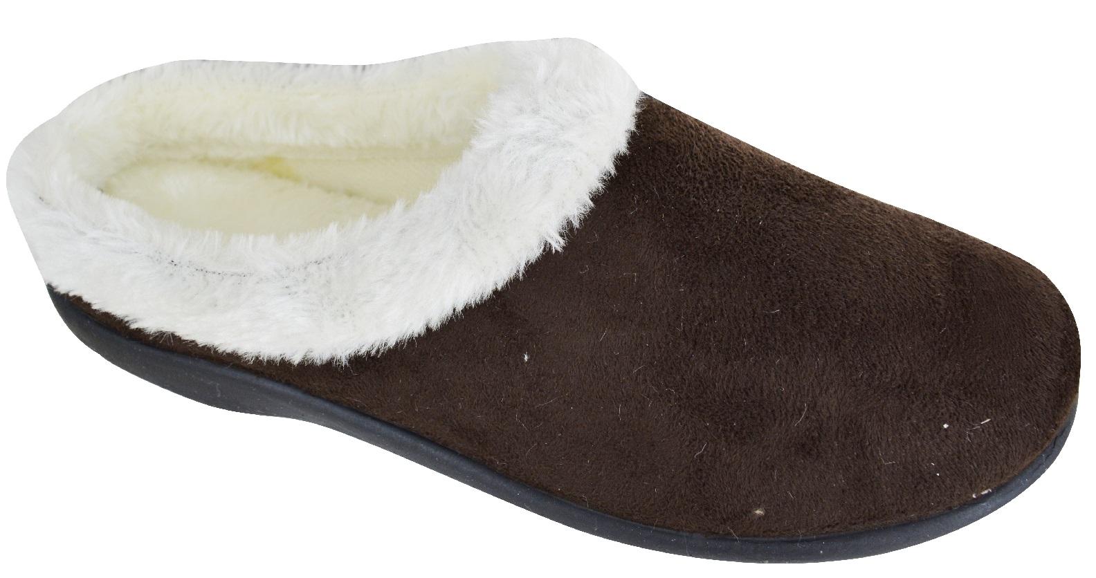 Senoras-para-mujer-Slip-On-mulas-Inddor-Acolchado-Caliente-De-Invierno-Zapatillas-Zapatos-Talla-3-8 miniatura 2