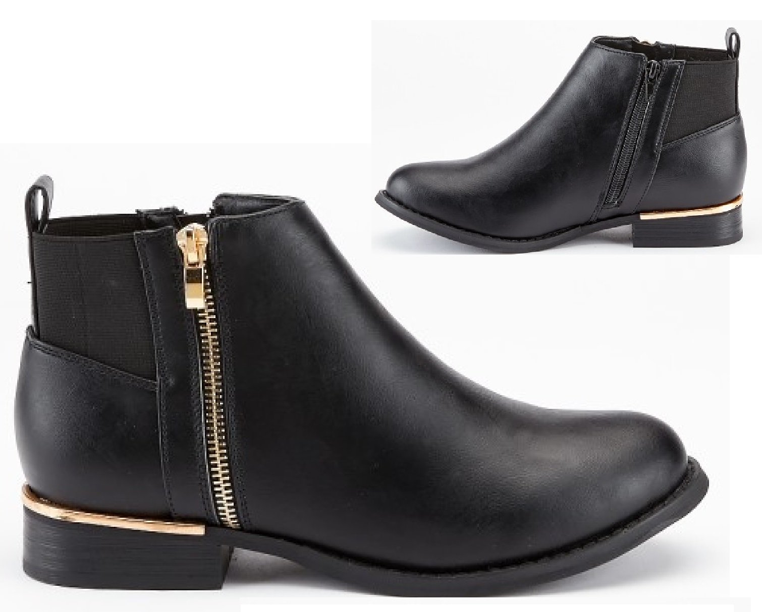 64f73fa7027 Details about LADIES WOMENS BLACK LOW HEEL FLAT CHELSEA GOLD ZIP UP ANKLE  SHOES BOOTS SIZE 3-8