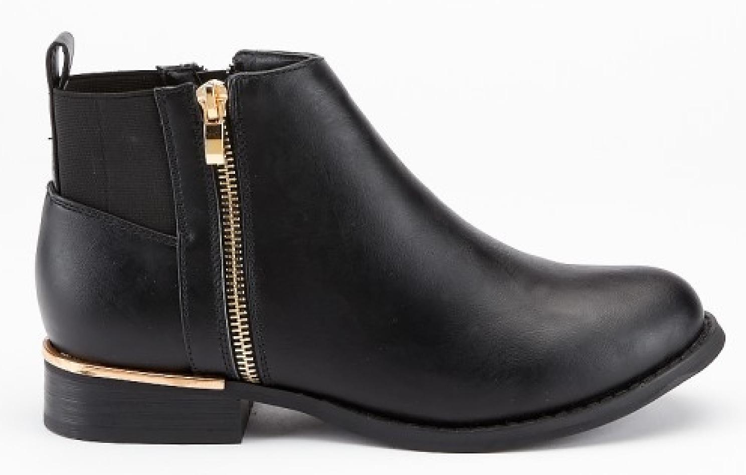 LADIES-WOMENS-BLACK-LOW-HEEL-FLAT-CHELSEA-GOLD-ZIP-UP-ANKLE-SHOES-BOOTS-SIZE-3-8 thumbnail 2