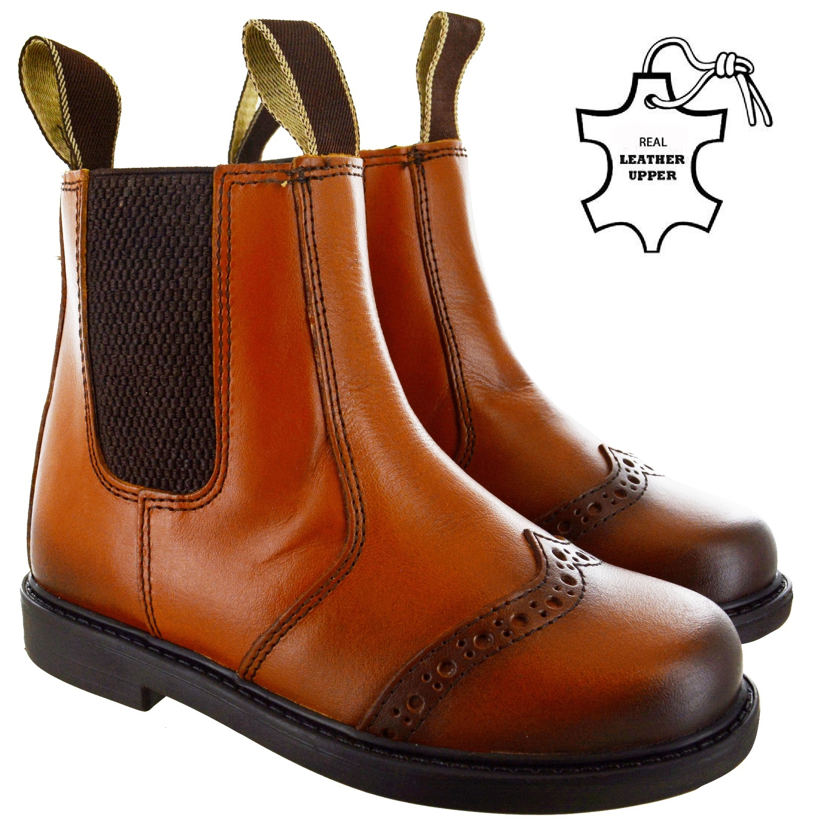BOYS KIDS LEATHER CHELSEA DEALER ANKLE BOOTS PULL ON CHILDRENS BROWN SHOES SIZE