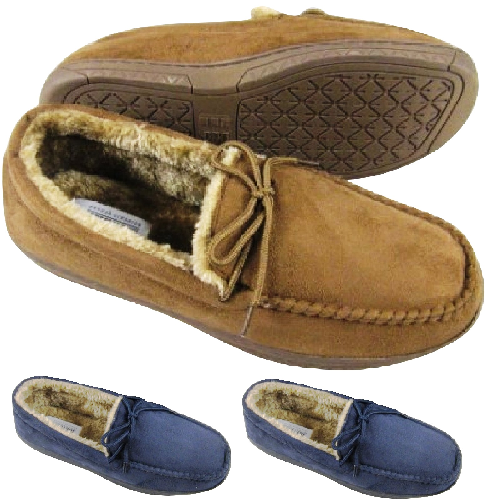 MENS MOCCASINS WARM FAUX SUEDE SHEEPSKIN FUR LINED WINTER LOAFERS SLIPPERS SIZE