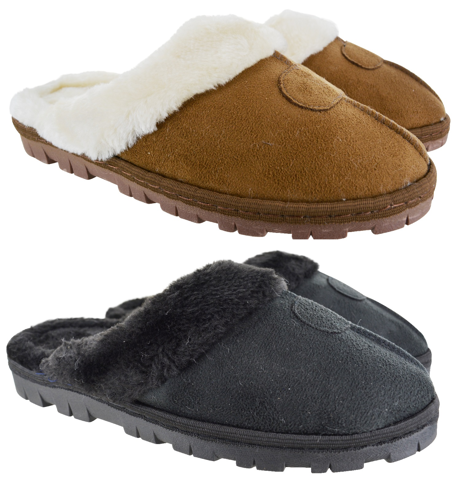 WOMENS LADIES MOCCAINS WARM WINTER FUR LINED SOLF LUXURY SLIPPERS SHOES SIZE 3-8