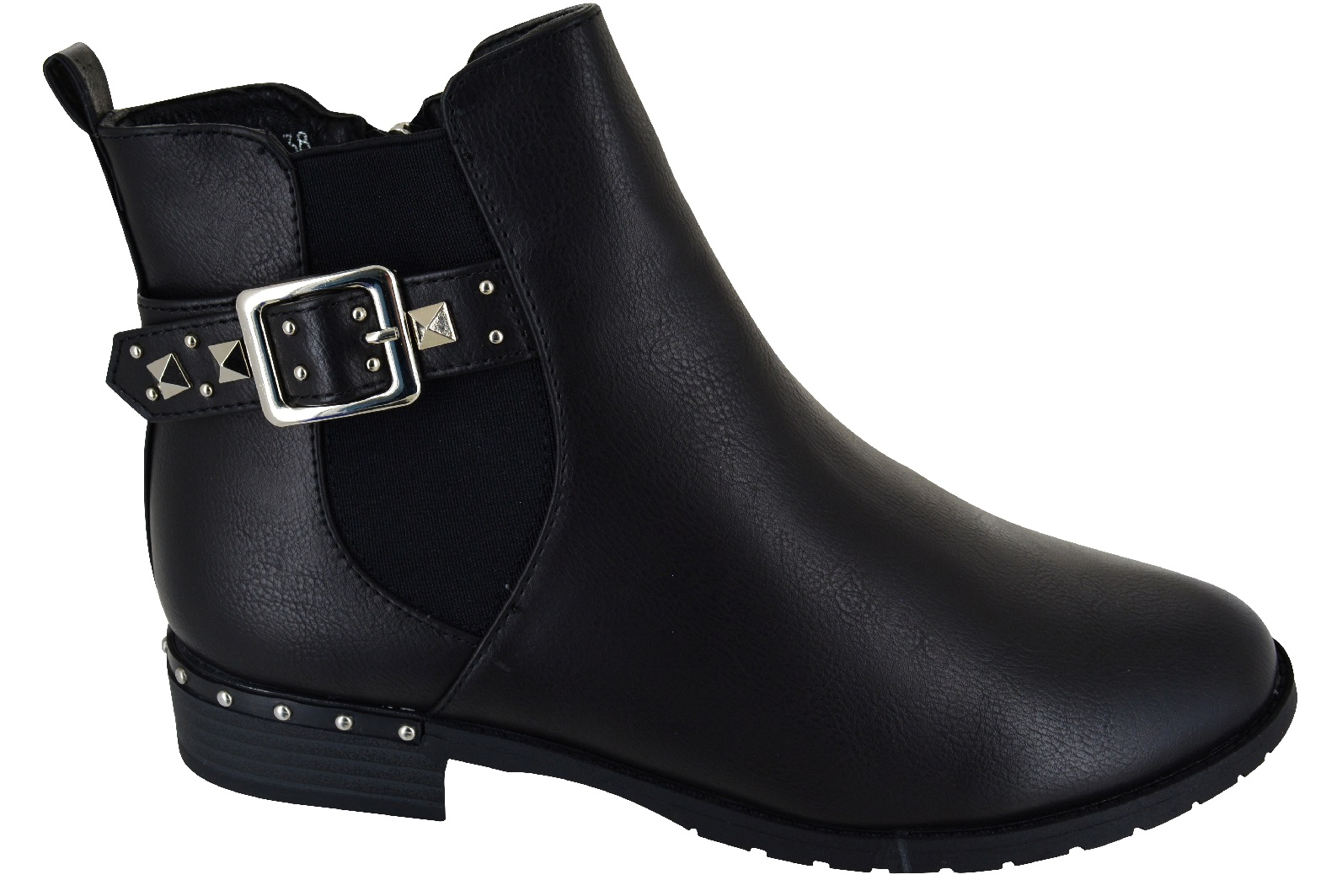 LADIES-WOMENS-FLAT-ANKLE-CASUAL-BUCKLE-CHELSEA-SIDE-ZIP-LOW-HEEL-SHOES-BOOTS-SZ thumbnail 4