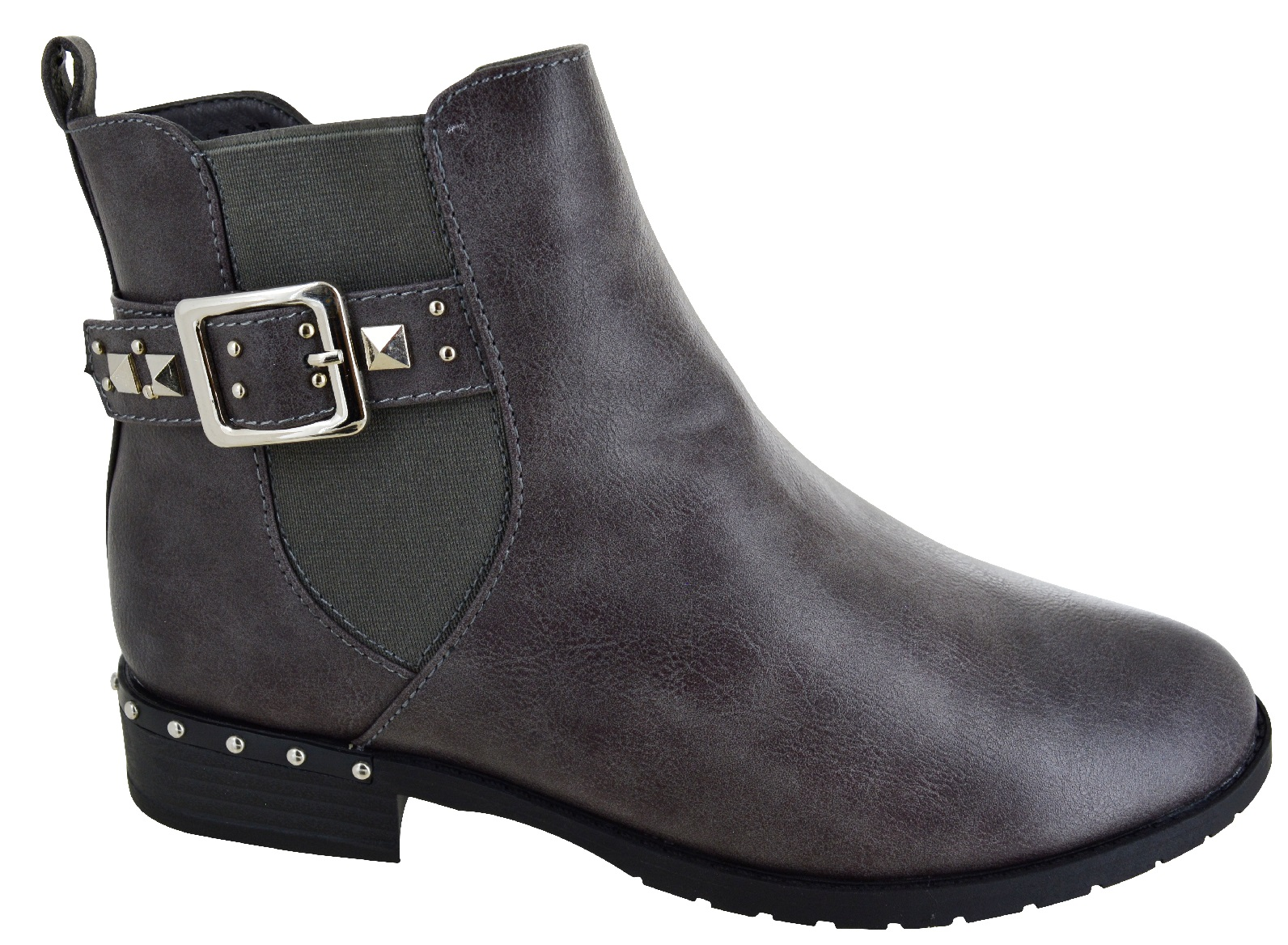 LADIES-WOMENS-FLAT-ANKLE-CASUAL-BUCKLE-CHELSEA-SIDE-ZIP-LOW-HEEL-SHOES-BOOTS-SZ thumbnail 7